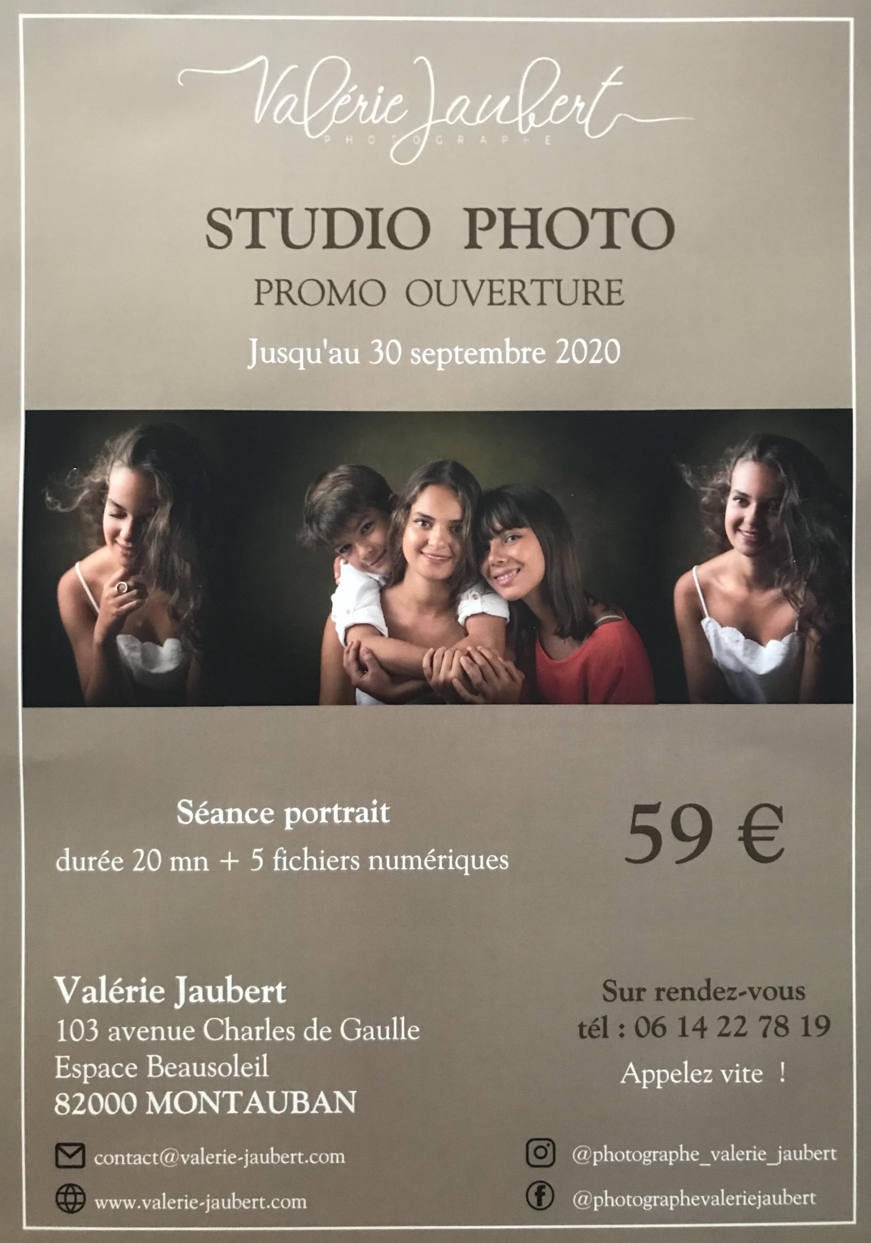 Tarif Promo ouverture studio photo